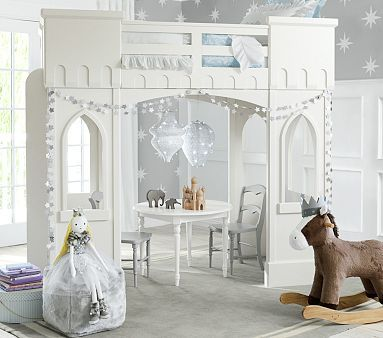 love this little girl's room: grey and white, sparkles, star wall detail, two tone table/chairs, castle loft bed