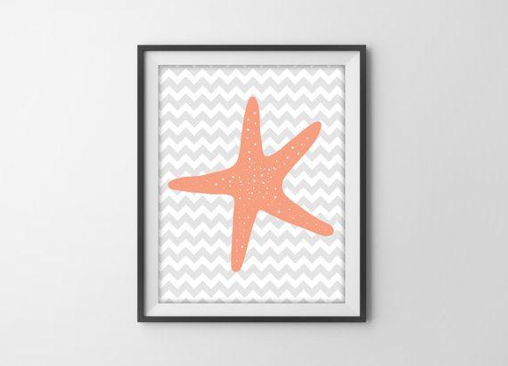 Starfish Bathroom Decor   Chevron Starfish Art Print   bathroom beach house  decor   Coral Gray. 17 Best images about starfish on Pinterest   Bathrooms decor  Sea