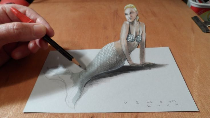 Realistic Mermaid Drawings | How I Draw a 3D Mermaid, Time Lapse - YouTube