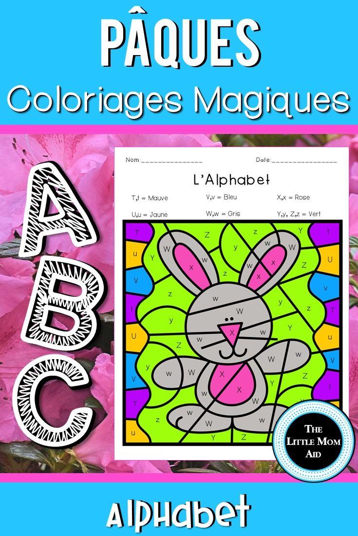 Coloriage Magique Alphabet Majuscule.Coloriages Magiques De Paques Alphabet French Easter Color By