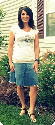 cute skirt made from a pair of jeans. Super easy!