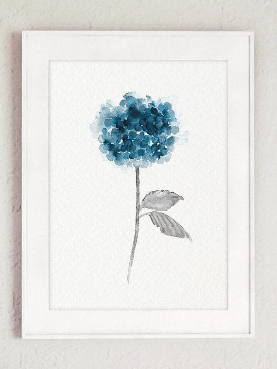 Hortensia Clipart Minimalist bloem schilderij set van 3. Botanische bloemen Art Print. Hortensia Teal en Blue Floral Wall Decor. Moderne minimalistische woonkamer decoratie. Er is een prijs voor de set van 3 verschillende hortensia Art Prints.  Het soort papier: Afdrukken tot (42 x 29, 7cm) 11 x 16 inch formaat worden afgedrukt op archivering Acid gratis 270g/m2 aquarel Fine Art Witboek en behoudt het uiterlijk van het originele schilderij. Grotere afdrukken worden afgedrukt op 200g&#x2F...