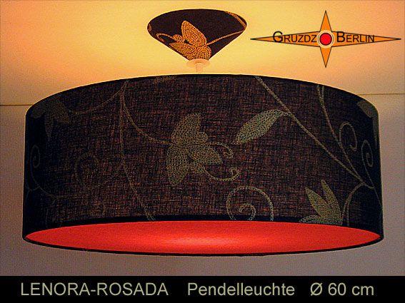 Loungeleuchte LENORA-ROSADA Ø 60 cm und beleuchtet, Pendellampe mit Diffusor und Baldachin, Leinen. Ein wunderbarer Stoff mit eleganter Wirkung aus schwarzem Leinen und goldfarbenem Blütendruck. ein Lichtspiel aus schwarzem Leinen, Pink und goldfarbenen Blüten, mit der Stimmung eines schönen Abendhimmels.
