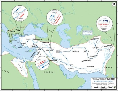 Map of Alexander the Great's Conquests (Illustration) -- Ancient History Encyclopedia