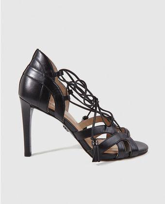 Sandalias de tacón de mujer Michael Kors de cuero negros. Modelo  MIRABEL SANDAL.