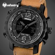 INFANTRY Men Dual Time Watches Leather Strap Analog Display Sports Watch Military Analog Glow In The Dark Chronograph Wristwatch(China (Mainland))