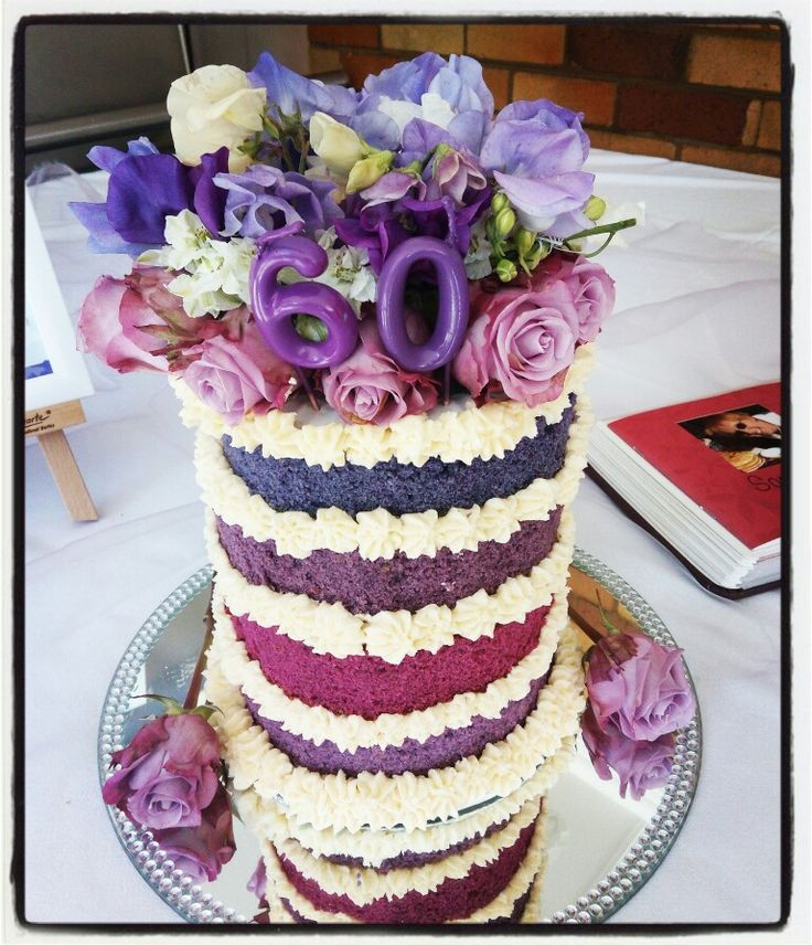 Purple, lavender layer cake for a 60th birthday