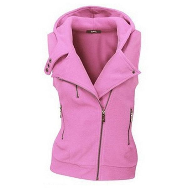 Hooded  Zips  Plain Waistcoat ($27) ❤ liked on Polyvore featuring outerwear, vests, hooded vest, waistcoat vest, zip vest, zipper vest and pink vest
