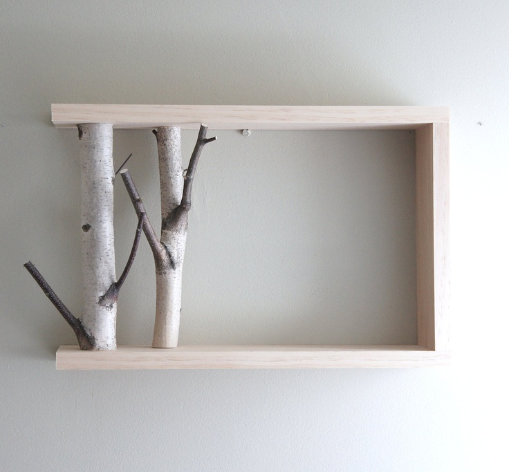 """white birch forest - natural white birch wood wall art/shelf. $40.00, via Etsy.  I like using branches as """"book ends"""" on this shelf..."""