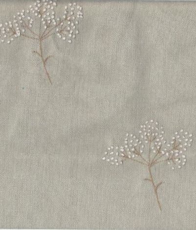 Embroidered Cow Parsley on Seamist Linen, Peony & Sage