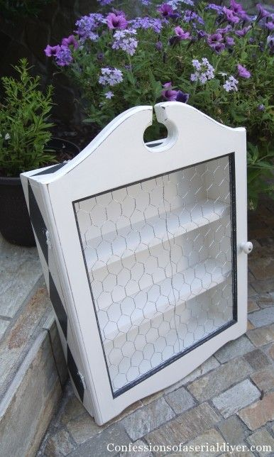 Chicken wire cabinet - remake of a thrift store find into something very unique and functional