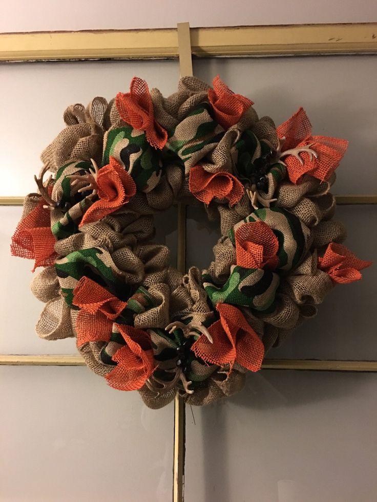 A personal favorite from my Etsy shop https://www.etsy.com/listing/254698794/burlap-wreath-camo-burlap-orange-burlap