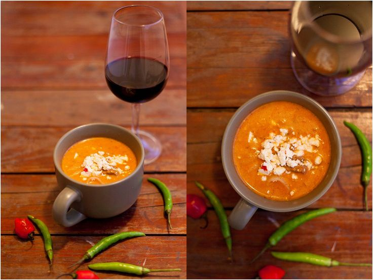 Tomato and ostrich goulash soup