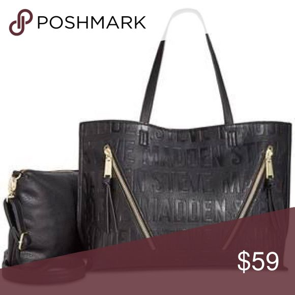 """STEVE MADDEN """"BQueenie Logo"""" Black Bag * Large sized bag; 16""""W x 12""""H x 5""""D * Silhouette is based off 5'9"""" model * 10""""L double handles * Magnetic-snap closure * Gold-tone exterior hardware, zip details & logo * 1 interior zip pocket, 2 slip pockets & 1 removable zip crossbody pouch * Laptop compatible (std. size 13""""-15"""") * Faux leather Steve Madden Bags Totes"""