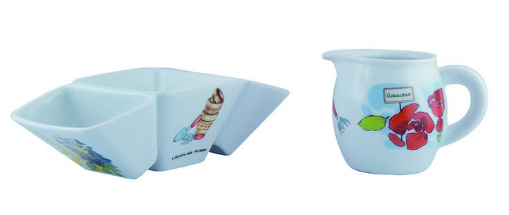 """Porta bustine e lattiera in porcellana; collezione """"Il giardino delle Meraviglie"""";   www.ancap.it"""