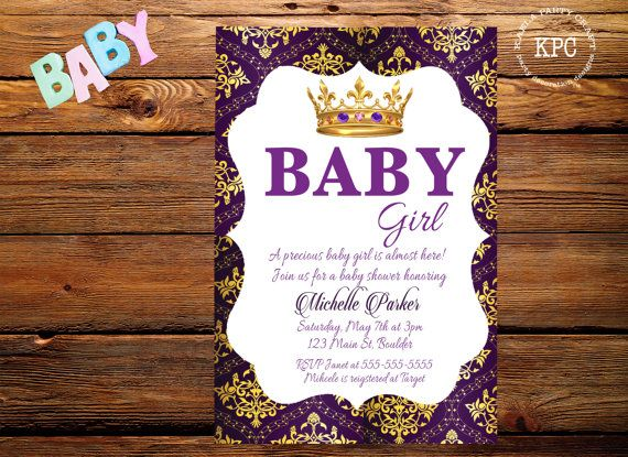 purple and gold baby shower invitation  purple by
