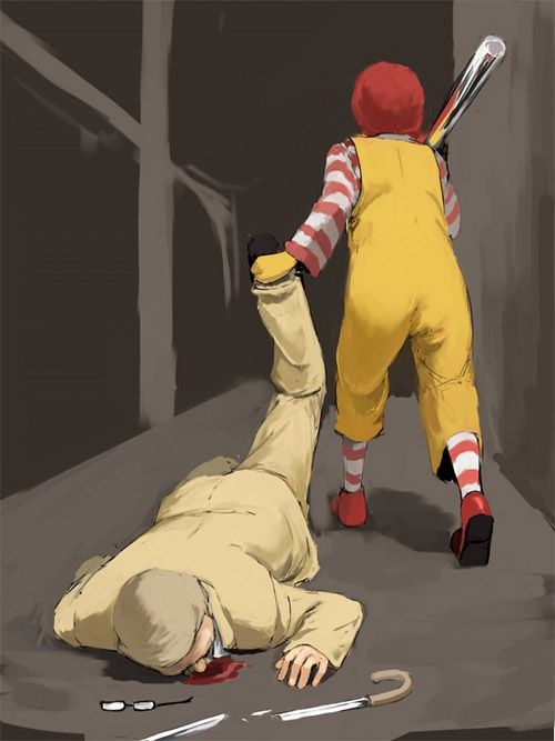 McDonald hit KFCBasebal Bats, Geek Art, Funny Pictures, Ronald Mcdonalds, Funny Stuff, Mcdonalds Hit, Fast Food, Food Wars, Food Fight