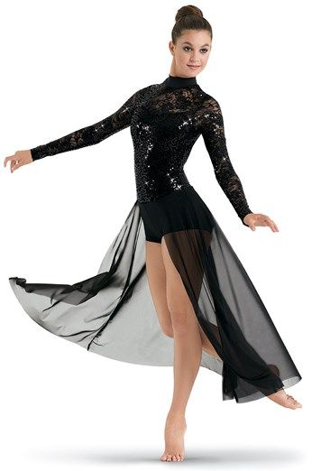 Black Sequined Bodice and Sleeves with Open Front Mesh Maxi Skirt