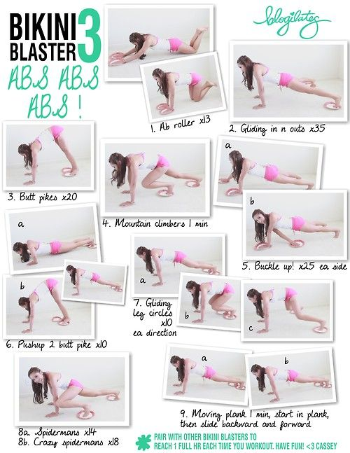 blogilates:    Bikini Blaster 3: Abs Abs Abs  You'll need paper plates if you're on carpet or towels if you're on a slick surface.  Have fun! View the whole Bikini Blaster video series here. It will target and tone your WHOLE BODY.  <3 Cassey