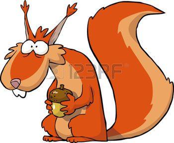 Écureuil avec glands sur un fond blanc illustration vectorielle Illustration
