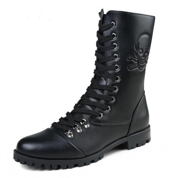 Men's Fashion High Lace-Up Skull Print Waterproof Motorcycle Boots