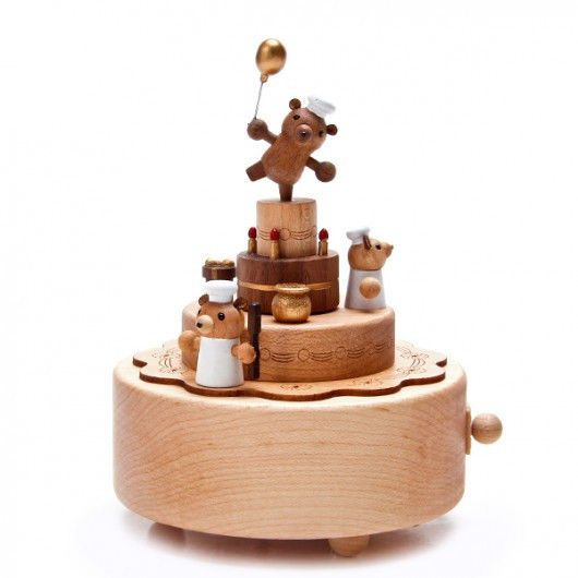 Wooderful Life Hand Made Wooden Music Box Bear Birth Cake The Magic Flute