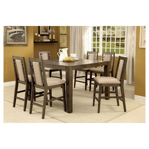 7-Piece Modern Bold Counter Height Table Set - Weathered Gray : Target