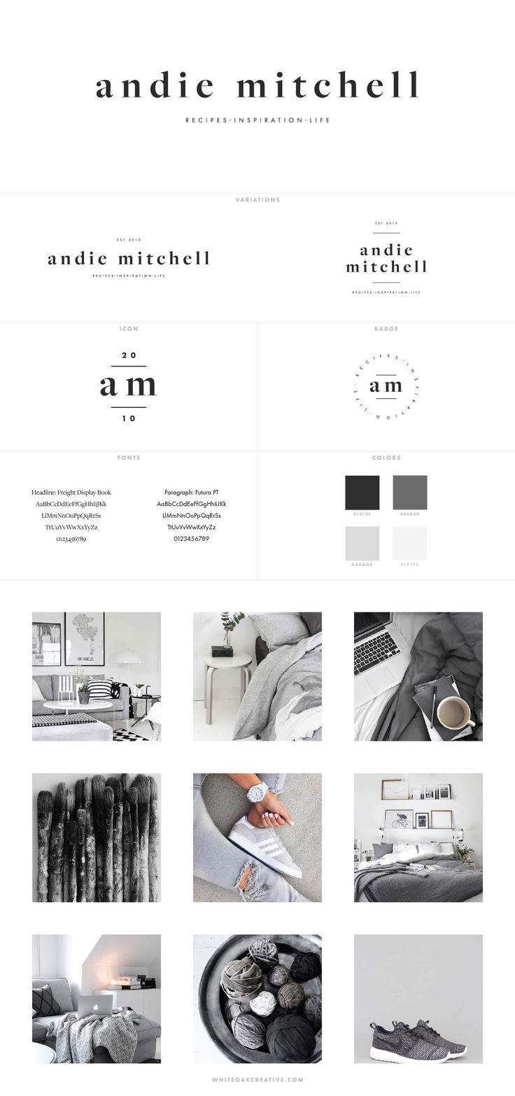 Andie Mitchell Blog Design by White Oak Creative, branding and blog design for food blog - logo design, wordpress theme, mood board inspiration, blog design idea, graphic design, branding