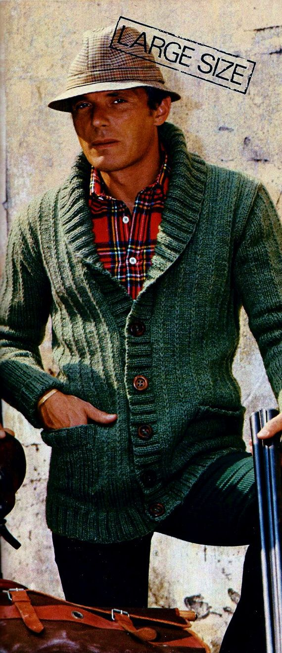 """Classic mens shawl collar cardigan (or jacket) has front inset pockets and font buttons.  SIZES: Men's Medium-Large-Extra Large. Directions for Large and Extra Large are given in parentheses. Men's: Medium (chest 40)-Large (Chest 42)-Extra Large (chest 44)  MATERIALS: Knitting worsted weight yarn: Seventeen (Eighteen-Nineteen) 50 gr balls (90 yards per 50 gr ball). Knitting needles sizes 6 and 8 or size to give correct gauge Five buttons 1"""" in diameter.  GAUGE: 16 sts = 4"""" – 22 rows = 4"""" in…"""