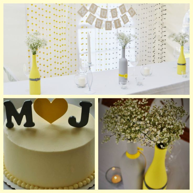 DIY wine bottle wedding vases, garland backdrop and cake topper. Yellow and grey.
