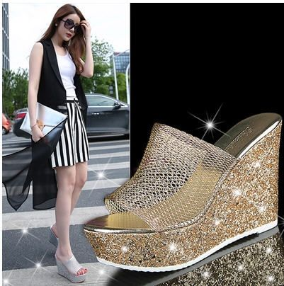 Women'S High-Heeled Rhinestone Thick Crust Muffin Shoes Summer Platform Hit Color Gold/Silver Slippers Wedges Flop Flips S2221