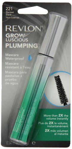 Revlon Grow Luscious Plumping Mascara Waterproof Blackest Black WP 034 Fluid Ounce -- See this great product.