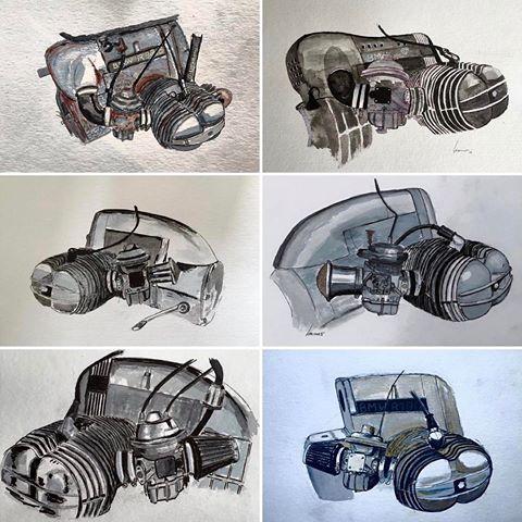 six variations of Boxermotors #engine #motorcircusatelier #watercolor #beemer #drawings #motorcircus #toasterroadster #brownsugar #poderosa #diamondatelier #kradwahn #caferacer #scrambler #bmwmotorrad #caferacerworld #caferacerdreams #caferacerculture #painting #bmwr90 #bmwr100 #bmwr80 #bmwcaferacer #bmwr #bmw