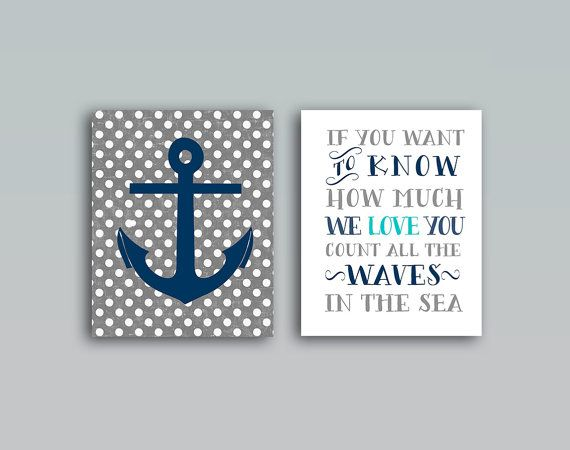 Nautical Nursery wall art Set of 2 DIGITAL PRINTABLES. 8x10 Set of 2 Nautical nursery wall decor. Anchor & count the waves saying. ◄ITEM