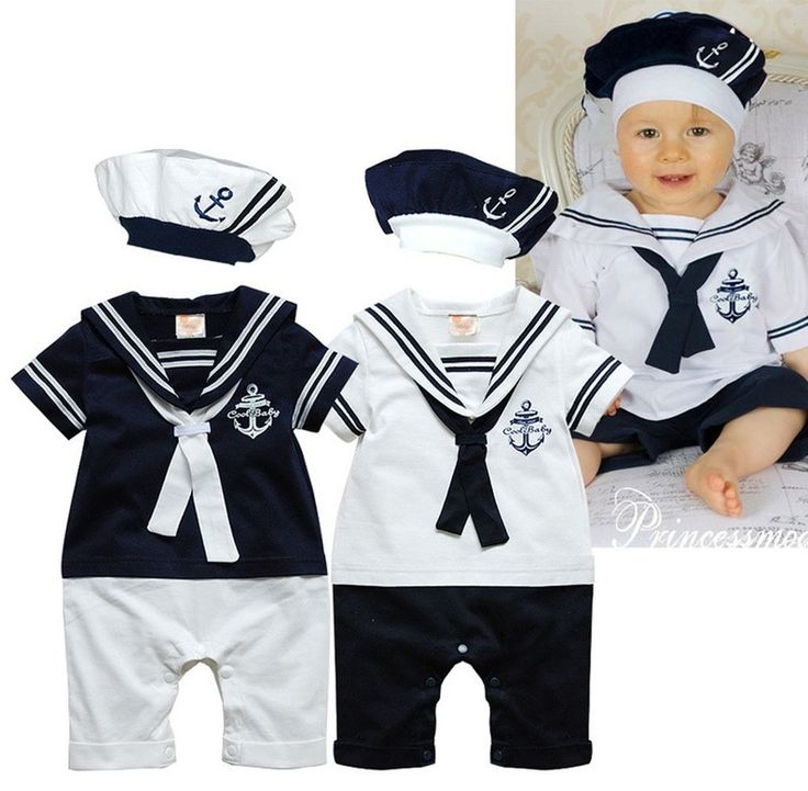 Baby Boy Girl Sailor Costume Suit Outfit Romper Marine HAT Set Navy/White 6-24M in Baby, Baby Clothing, Boys | eBay