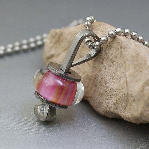 Pink Glass Lampwork Bead Horseshoe Nail Pendant by KimVGlass