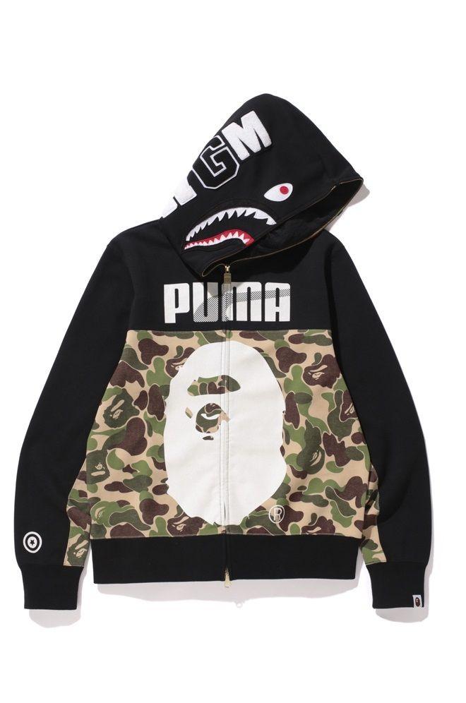 BAPE X Puma Shark Zip Hoody Camouflage Hooded Sweatshirt A Bathing Ape Men's Camo Hoodie │ Represented by Young Thug and Fabolous