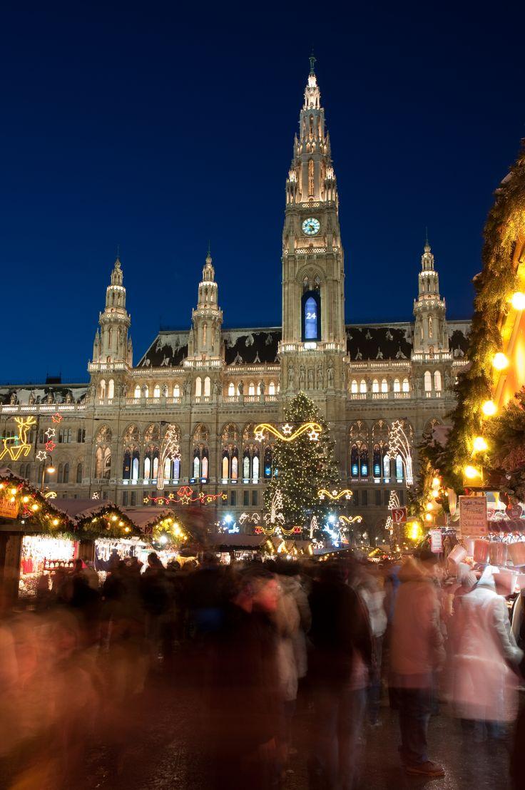 People on the Christmas market in Vienna, Austria