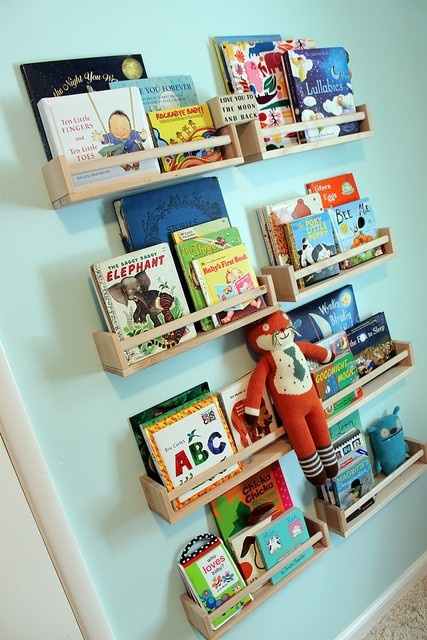 nurseries Ikea spiceracks used as bookshelves