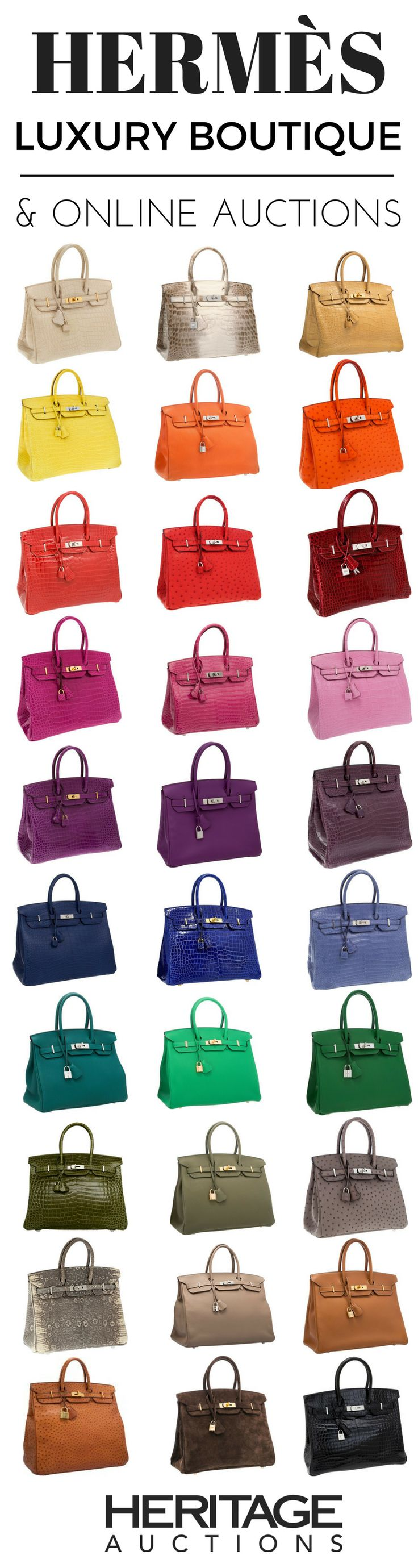 Hermès Birkin bags in all colors, available online! | hermes, birkins, berkins, birkens, infogrpahic | HERITAGE AUCTIONS