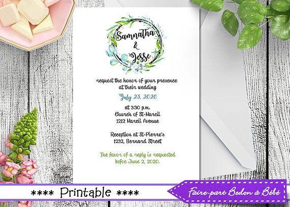 Wedding Invitations, Card, Announcement, Printable Wedding Invitations, Modern Wedding Invitation, wedding printable, Digital printable