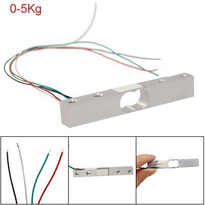 """Amico 0-5Kg Weighing Load Cell Sensor for Electronic Balance by Amico. $9.63. Center Hole Size: 1.8 x 1.1cm / 0.708"""" x 0.433""""(L*Radius); Package Content: 1 x Weighing Load Cell. Product Name: Weighing Load Cell; Test Insrtument: E2000; Rated Load: 0-5Kg. Input End: Red+, Black-; Output End: Green+, White-; Excitation Voltage: 5-10V DC. Force Testing Equipment: Actual Load; Total Size: 8 x 1.3 x 1.3cm / 3.1"""" x 0.5"""" x 0.5""""(L*W*T). Cable Length: 21cm / 8.3""""; Weight: 30g;Thead Hole..."""