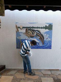 Painel de Mosaico Tucunaré Instalado no Ambiente