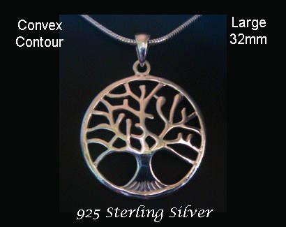 15% OFF  Tree of Life Necklace: Large 32mm Convex Contour 925 Sterling Silver Tree of Life Necklace - found at https://www.etsy.com/shop/MyTreeOfLifeJewelry and also www.TreeOfLifeJewellery.com