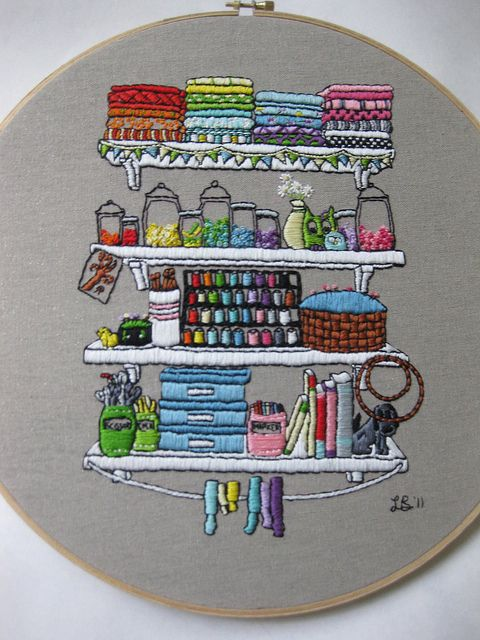 Embroidered Craft Shelves