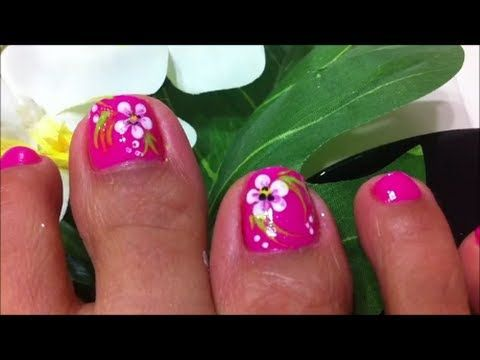 how to design flower on toe nails - YouTube