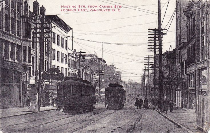 """""""Hasting [sic] Str. from Cambie Str. looking East, Vancouver B. C.""""  100-block West Hastings Street looking east from Cambie Street, circa-1905.Woodward's Dept. Store Center background"""