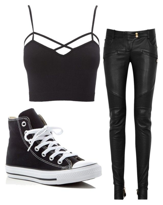 Going Out by isabellamateus on Polyvore featuring Charlotte Russe, Balmain and Converse