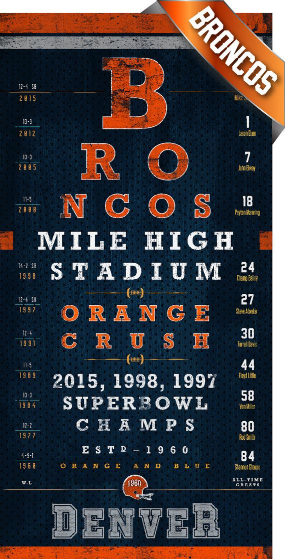 Denver Broncos  2015 1998 1997 Champs Eye Chart  by RetroLeague