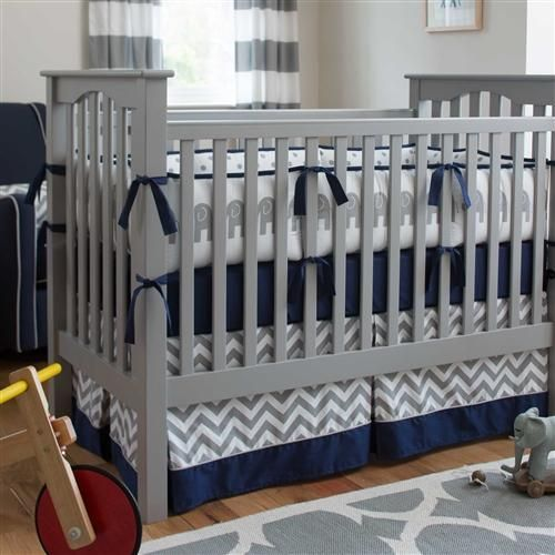Navy and Gray Elephants Crib Bedding for Boys by Carousel Designs.